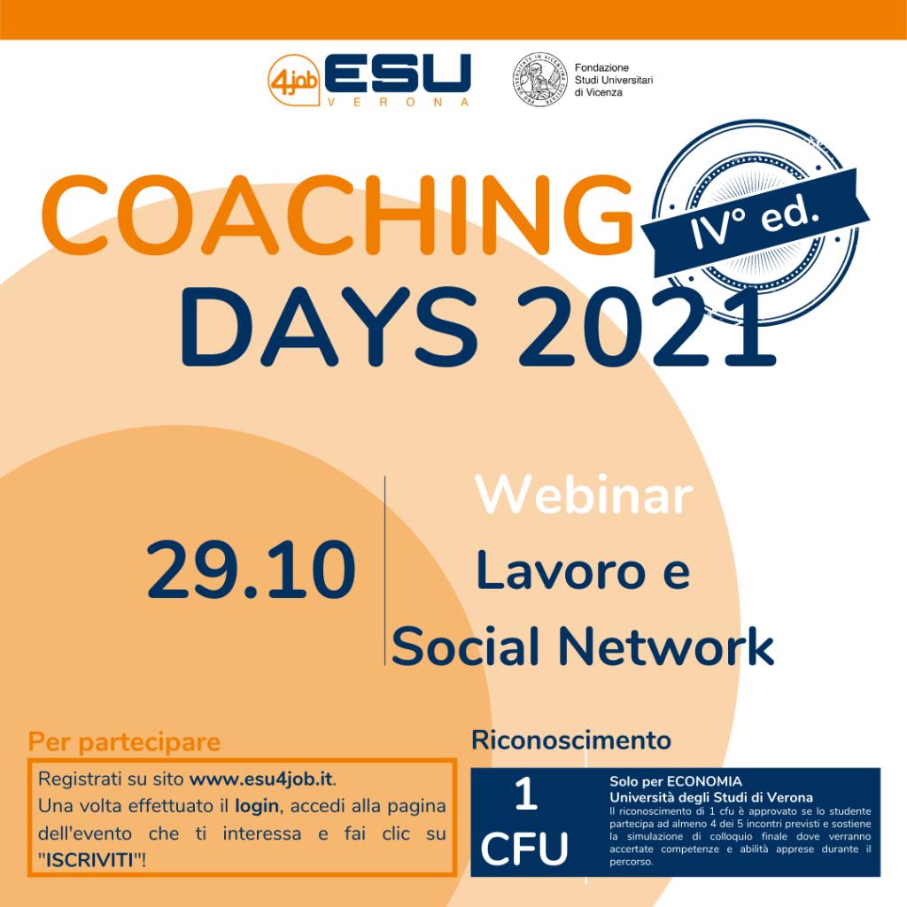 Coaching Days FSU   IV Edizione   Lavoro e Social Network