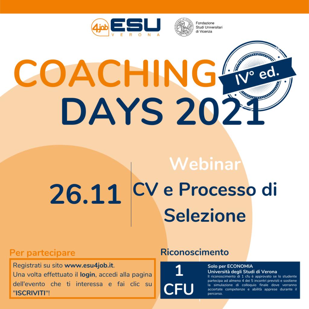 Coaching Days FSU | IV Edizione | CV e Processo di Selezione